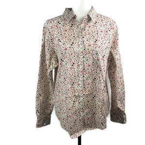 LL BEAN Ladies Floral Casual Button Down Shirt